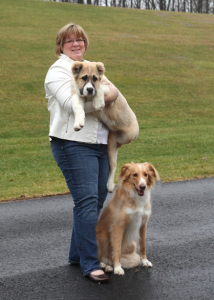 Dr. Amy Swinehart with her two dogs